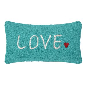 Love Heart Hook Wool Lumbar Pillow