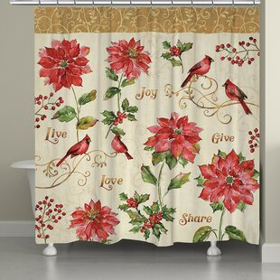 Best Deals Holiday Red Christmas Shower Curtain By Laural Home