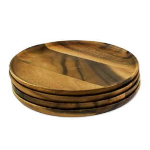 Paget Natural Dark Discs Appetizer Plate (Set of 4)  sc 1 st  Wayfair & Wood Plates u0026 Saucers Youu0027ll Love | Wayfair