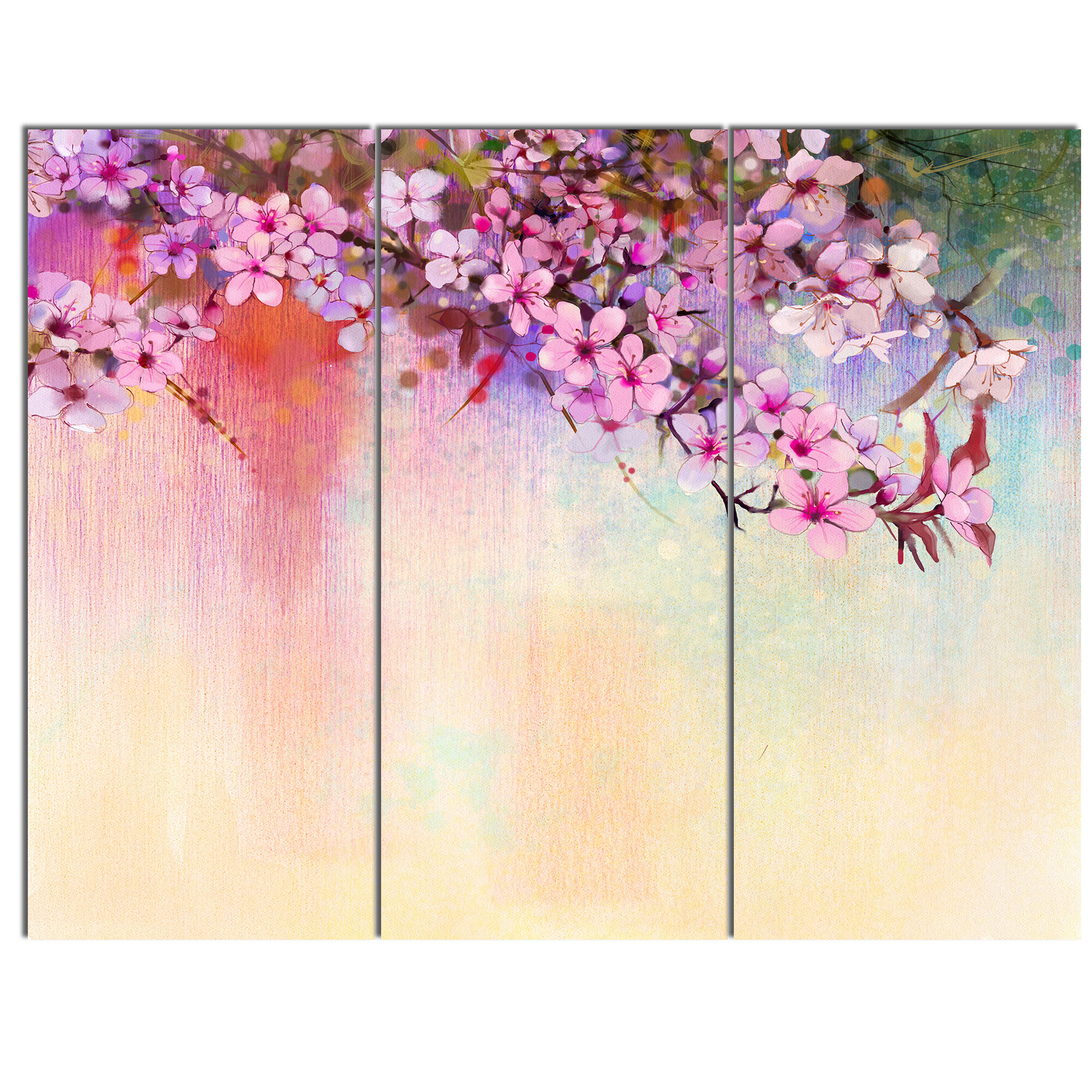 Pretty Floral Wall Art Framed Canvas Pictures Japanese Flowers Painting