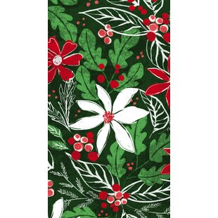 Jacqueline Metallic Holly Pattern Hand Towel (Set of 15) By The Holiday Aisle