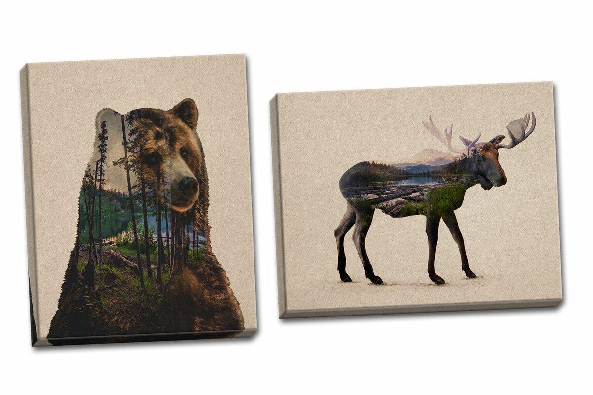 Loon Peak Rustic Double Exposure Bull Moose and Bear Landscape Set ...