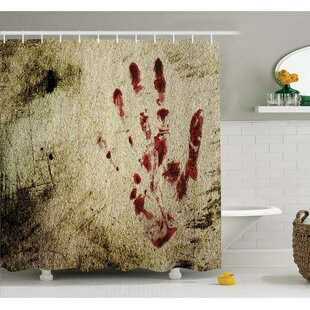 Horror House Grunge Dirty Wall with Bloody Hand Print Murky Palm Trace Victim Violence Shower Curtain Set
