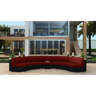 Harmonia Living Urbana 3 Piece Extended Curved Sectional Set with Cushions