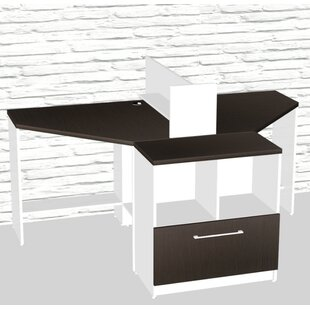 Triangular Corner 4 Piece L-Shaped Desk Office Suite