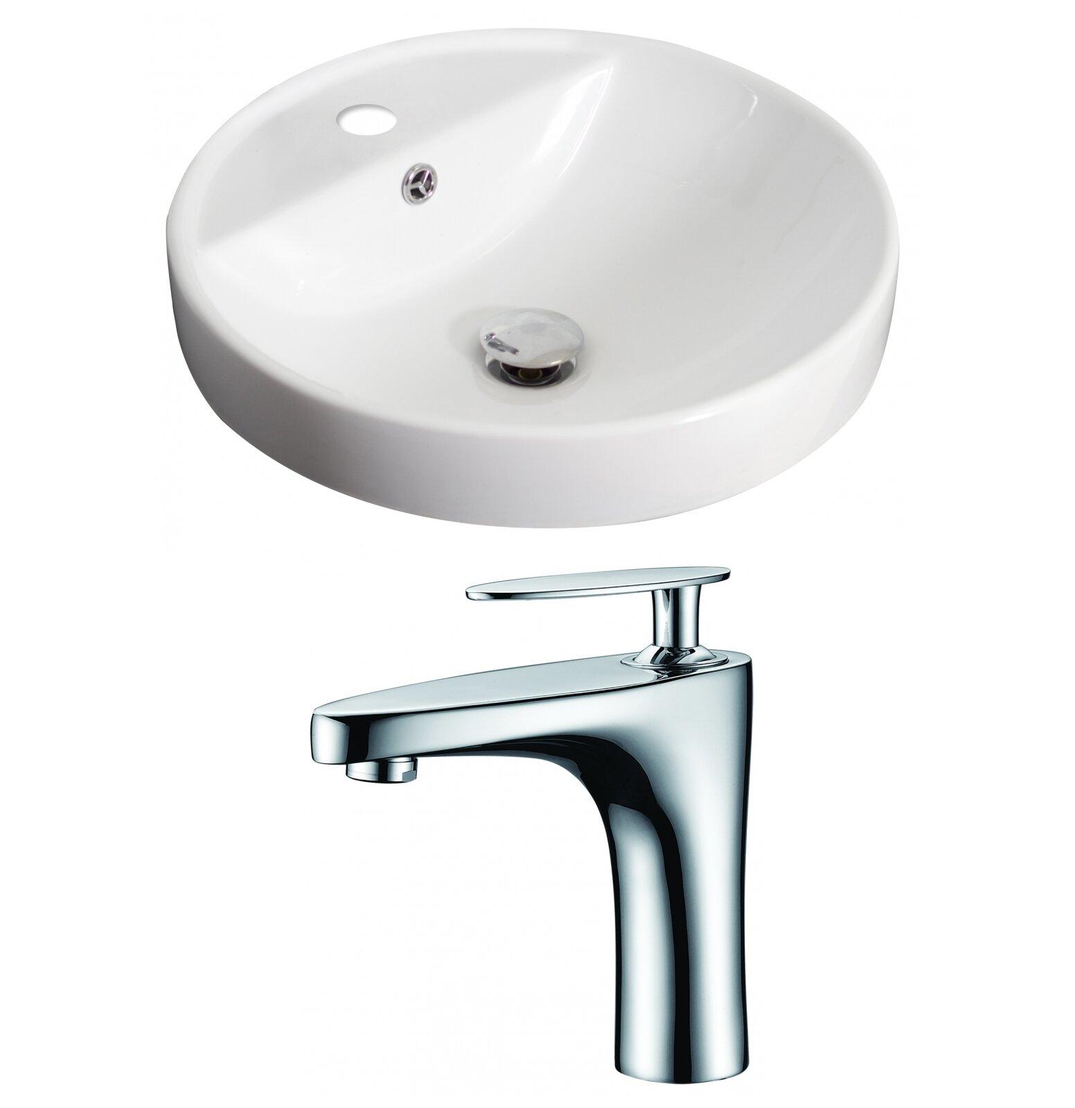 Avanities Ceramic Circular Drop In Bathroom Sink With Faucet And
