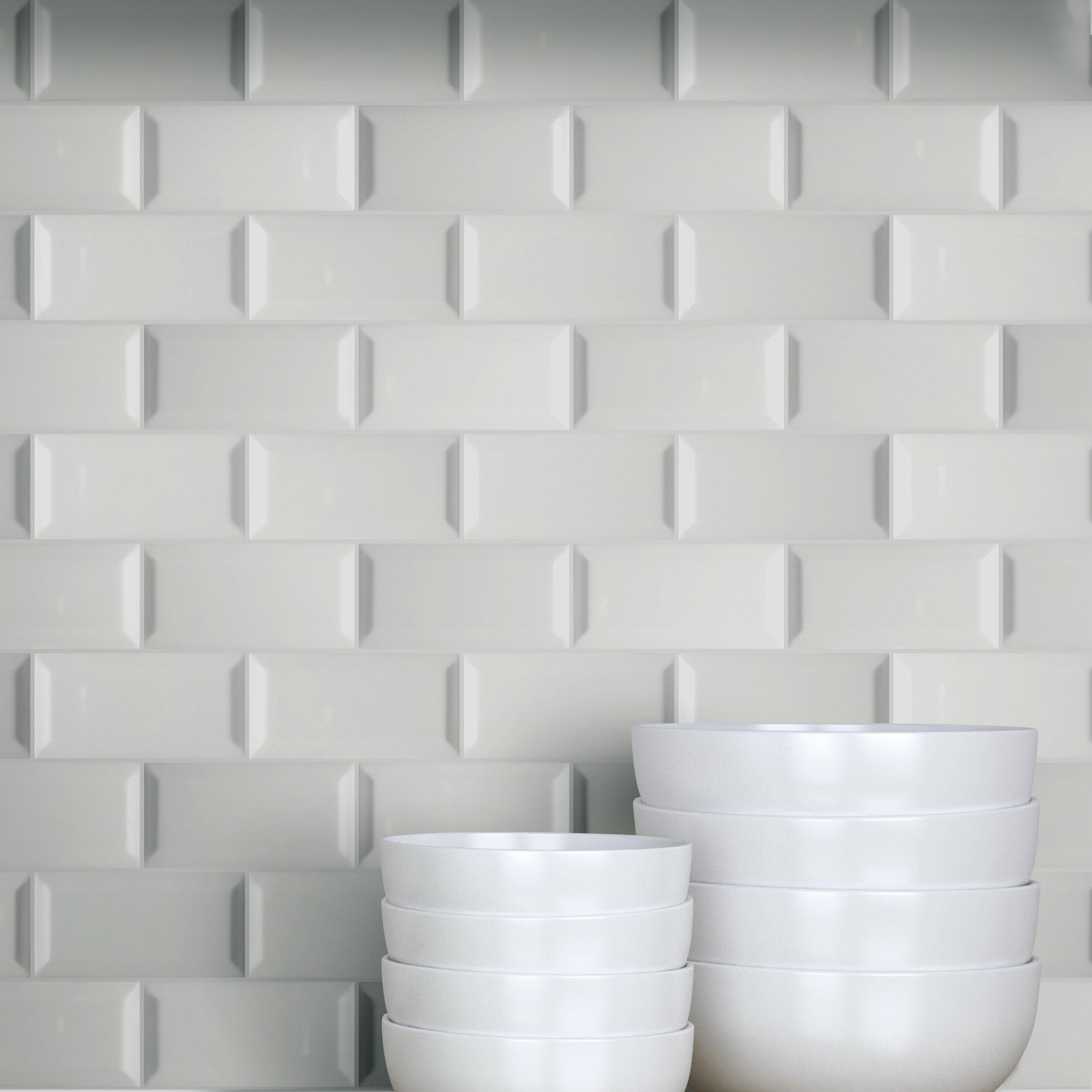 3 X 6 Beveled Ceramic Subway Tile In Glossy Gray