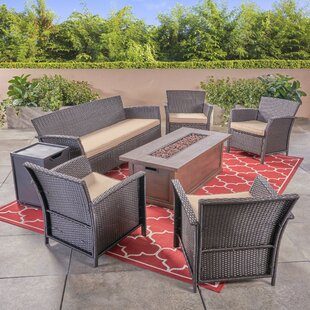 Ayala Outdoor 7 Piece Rattan Sofa Seating Group with Cushions by Alcott Hill