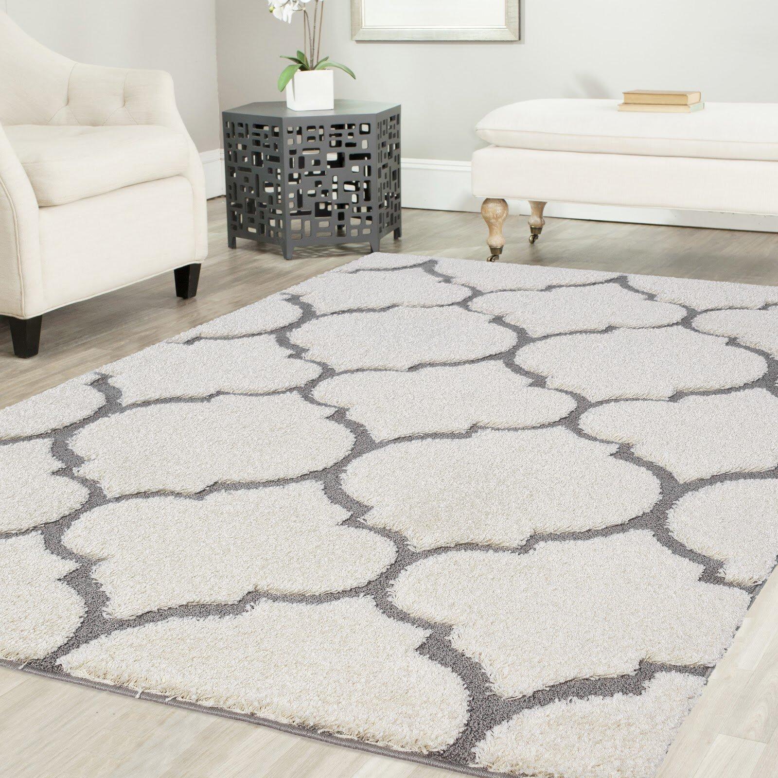 Mercer41 Ruiz Glam Moroccan Shag White Gray Area Rug Reviews Wayfair