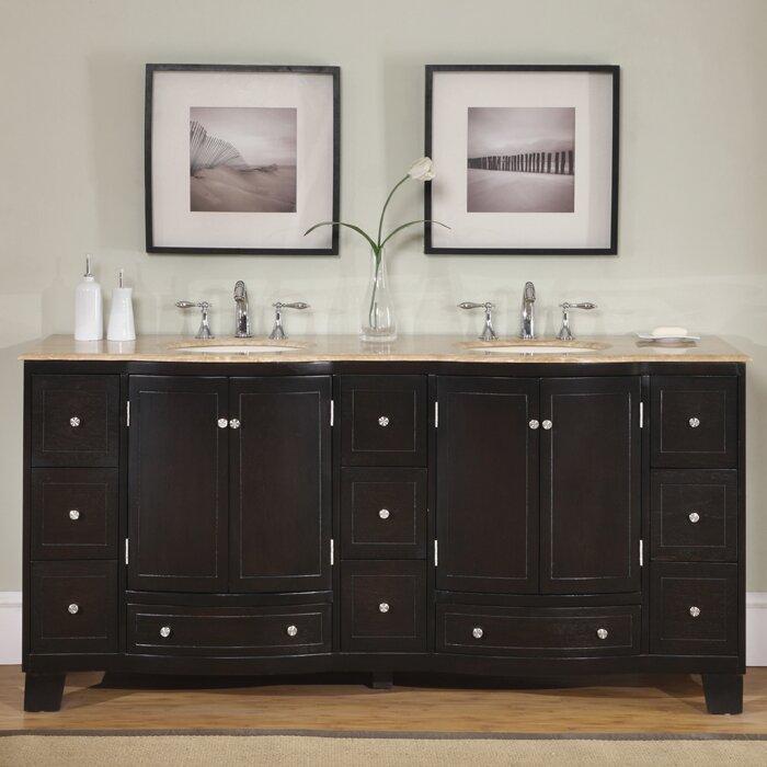 Silkroad Exclusive Merrimack 72 Double Bathroom Vanity Set