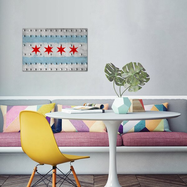 Grunge Rivet Metal Painted Graphic Art on Canvas