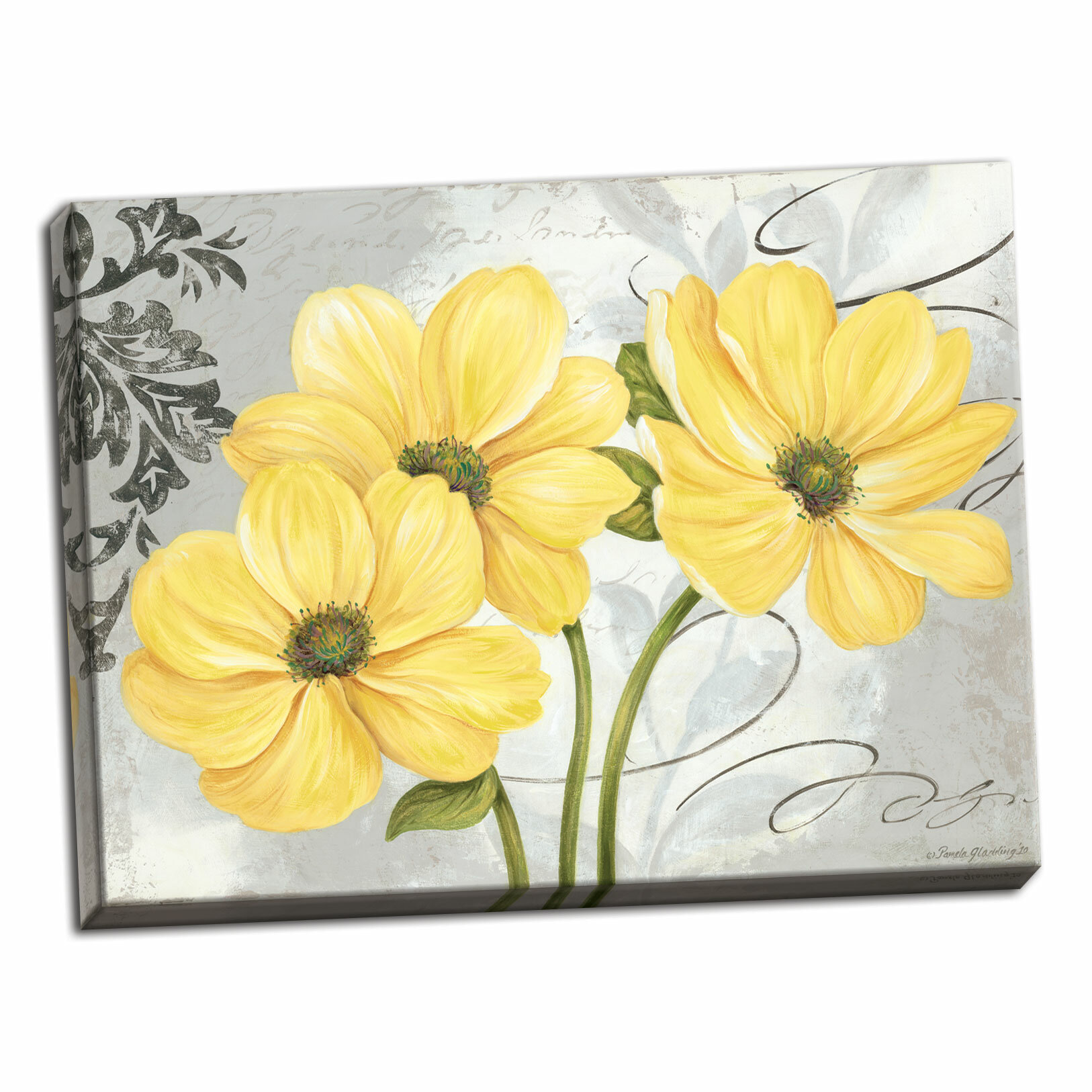 Colori yellow i beautiful gray and yellow floral acrylic painting print on canvas