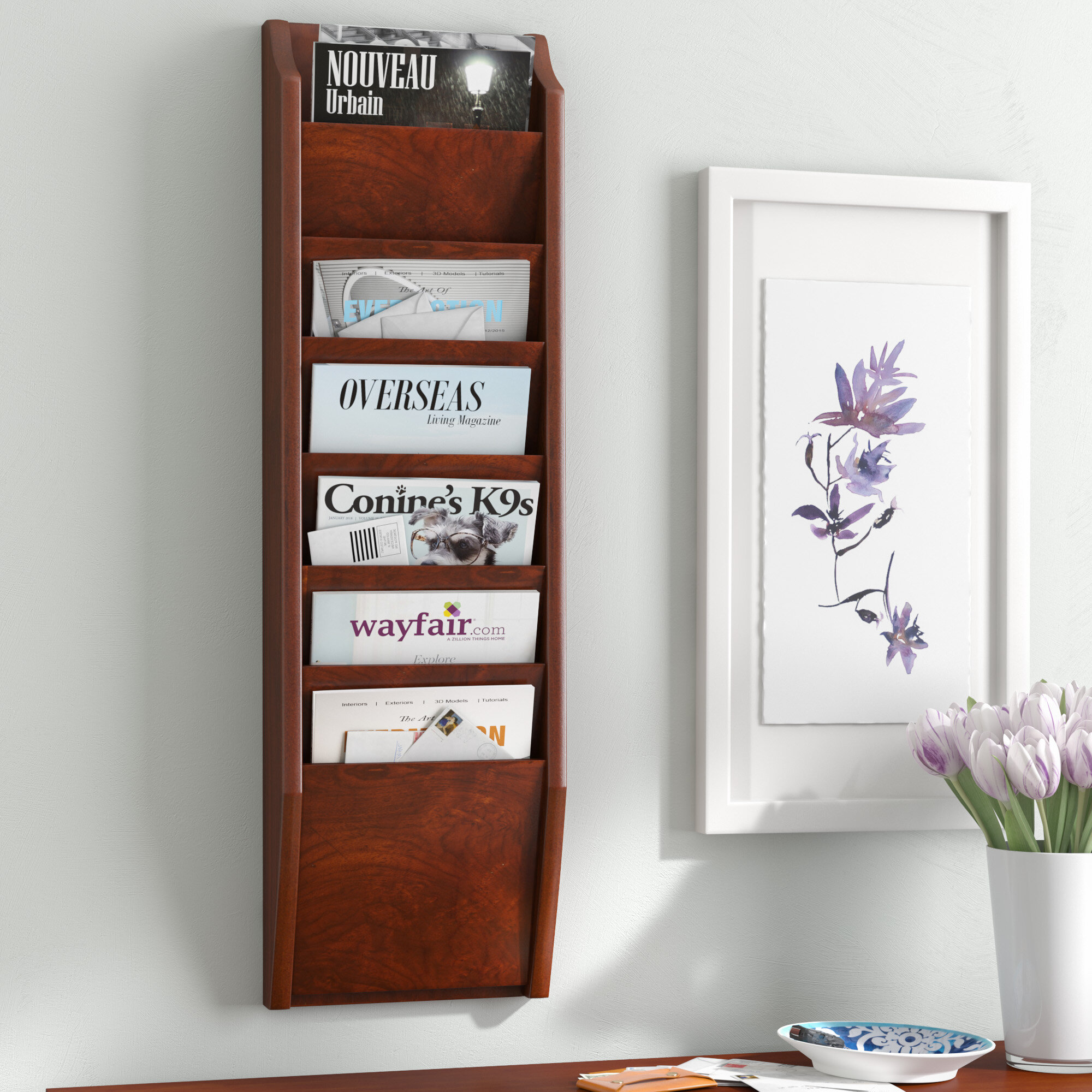 pocket wood mounted intended magazine wooden organizer rack for holder mount bamboo wall