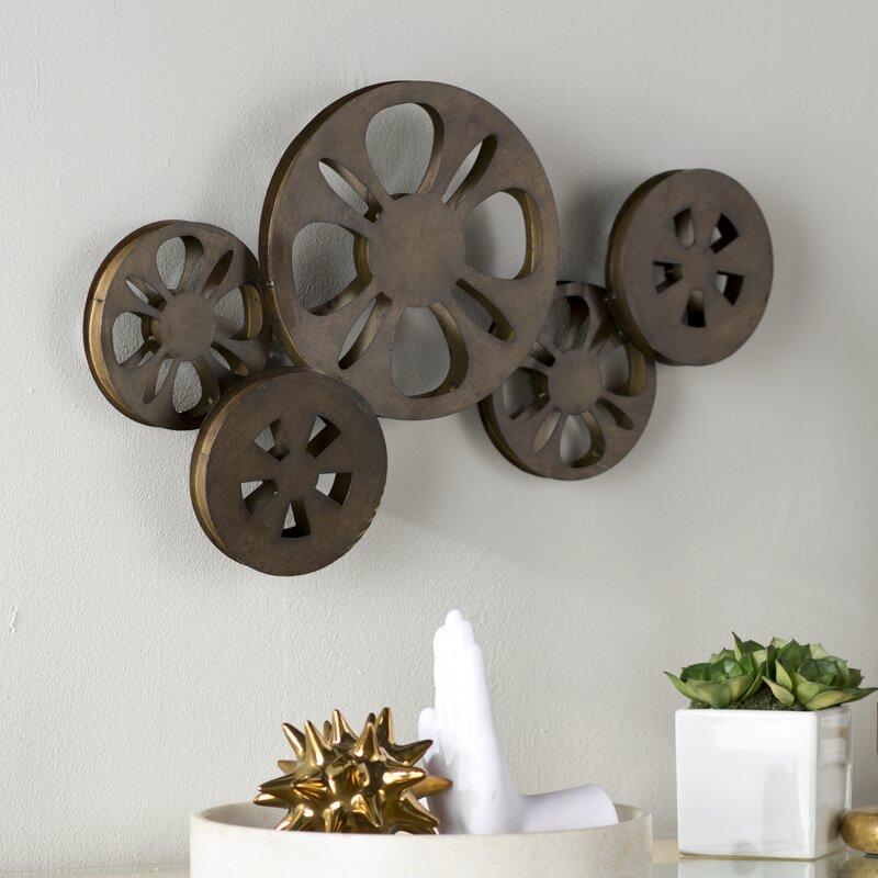 Brayden Studio Decorative Bronze Metal Movie Reel Sculpture Wall ...