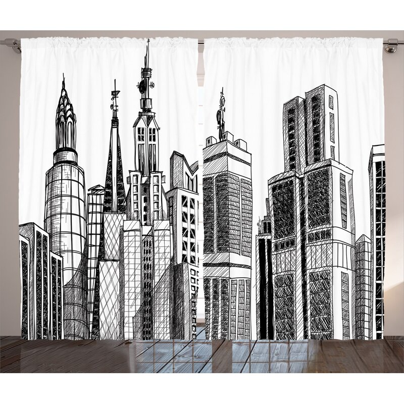 East Urban Home Cityscape Room Darkening Rod Pocket Curtain Panels Wayfair