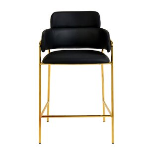 Marta Vegan Leather Bar Stool (Set of 2) Everly Quinn