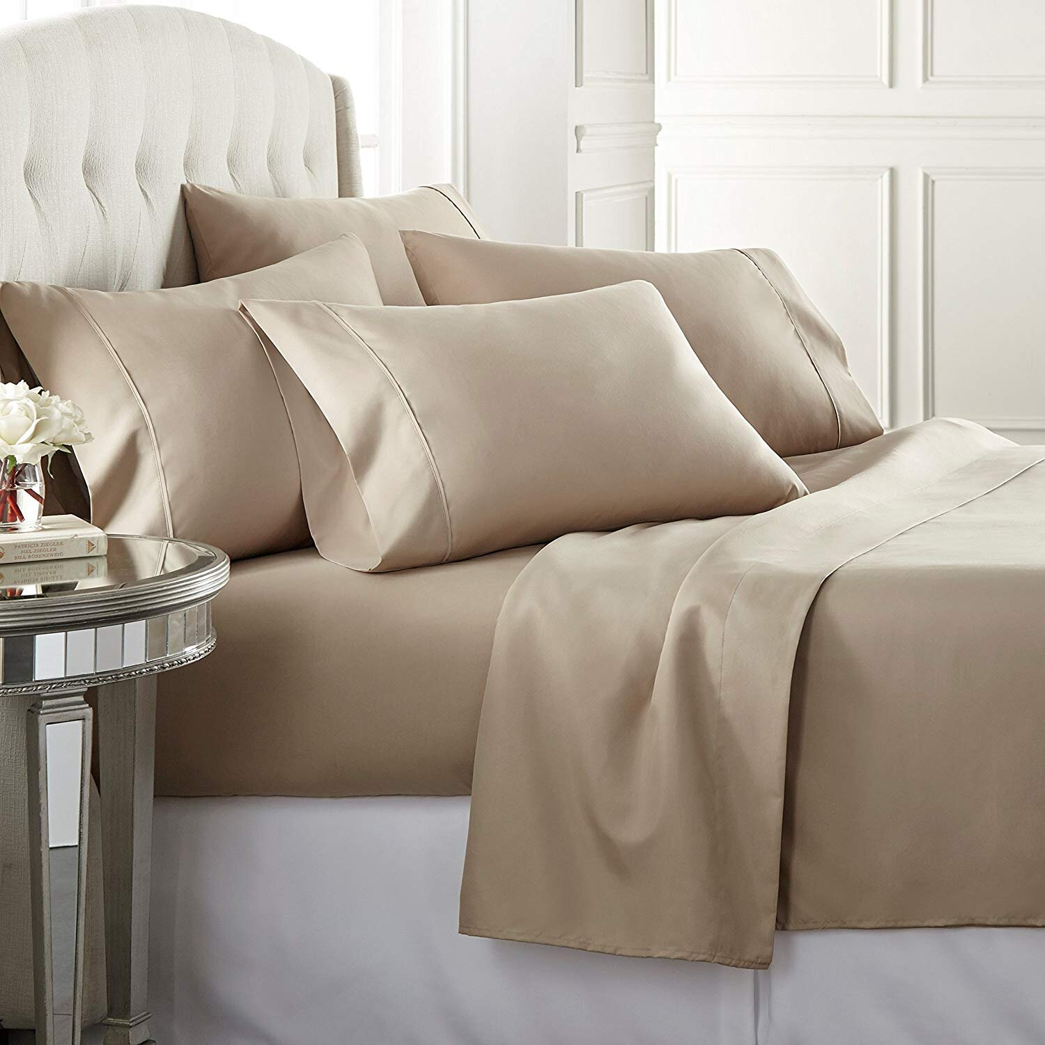 Tan Yellow Rich Cotton /& Polyester Plain Dyed Fitted Sheets OR Pair Pillowcases