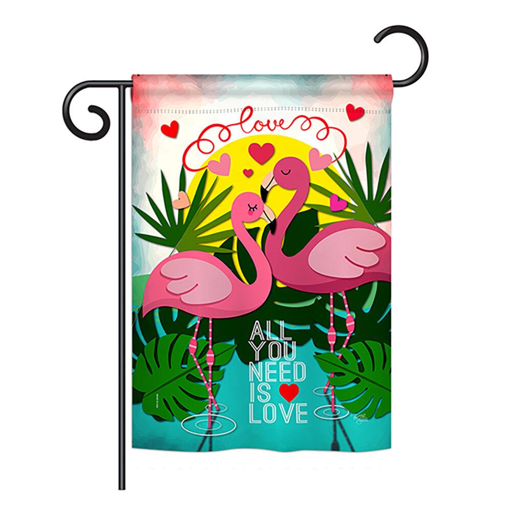 The Holiday Aisle Brenham Flamingo Lover Spring Valentines 2 Sided Polyester 19 X 13 In Garden Flag Wayfair