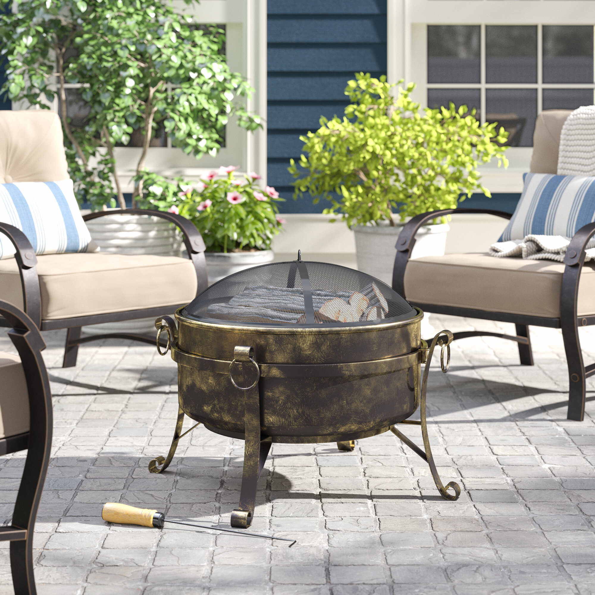 Charlton Home Flanigan Steel Wood Burning Fire Pit Reviews