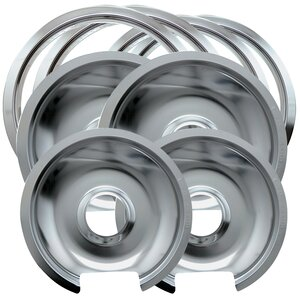 8 Piece Cooktop Style D Hinged Electric Range Drip Pan and Trim Ring Set
