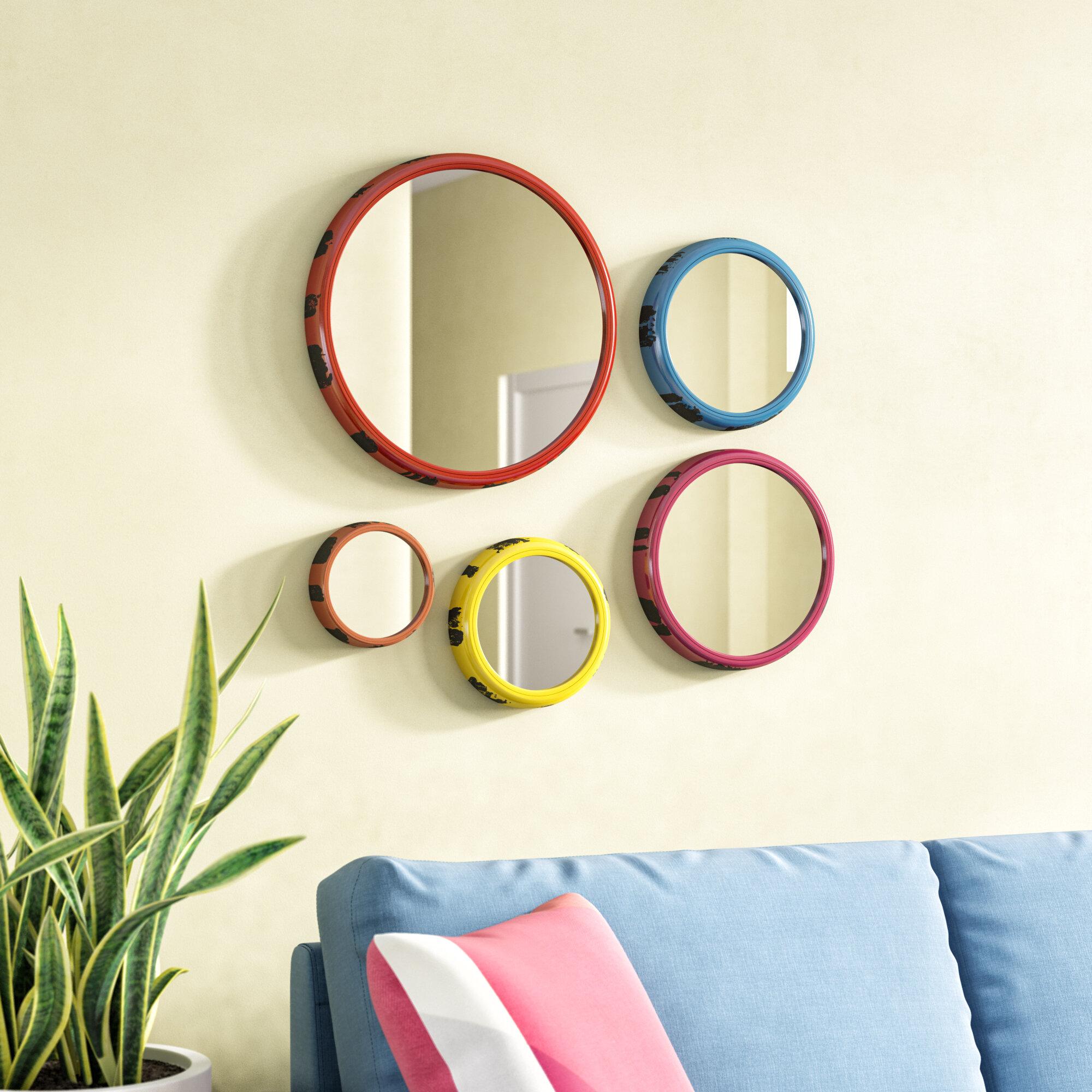 August Grove 5 Piece Round Wall Mirror Set Reviews Wayfair