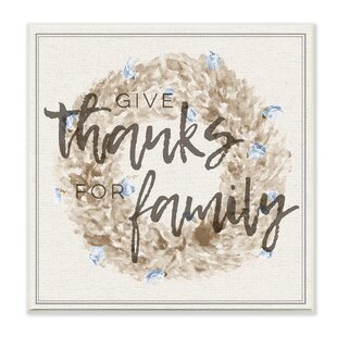 U0027Give Thanks For Family Strawflower Wreathu0027 Wall Art