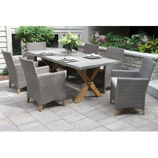 Roese 7 Piece Teak Dining Set with Sunbrella Cushions by Gracie Oaks