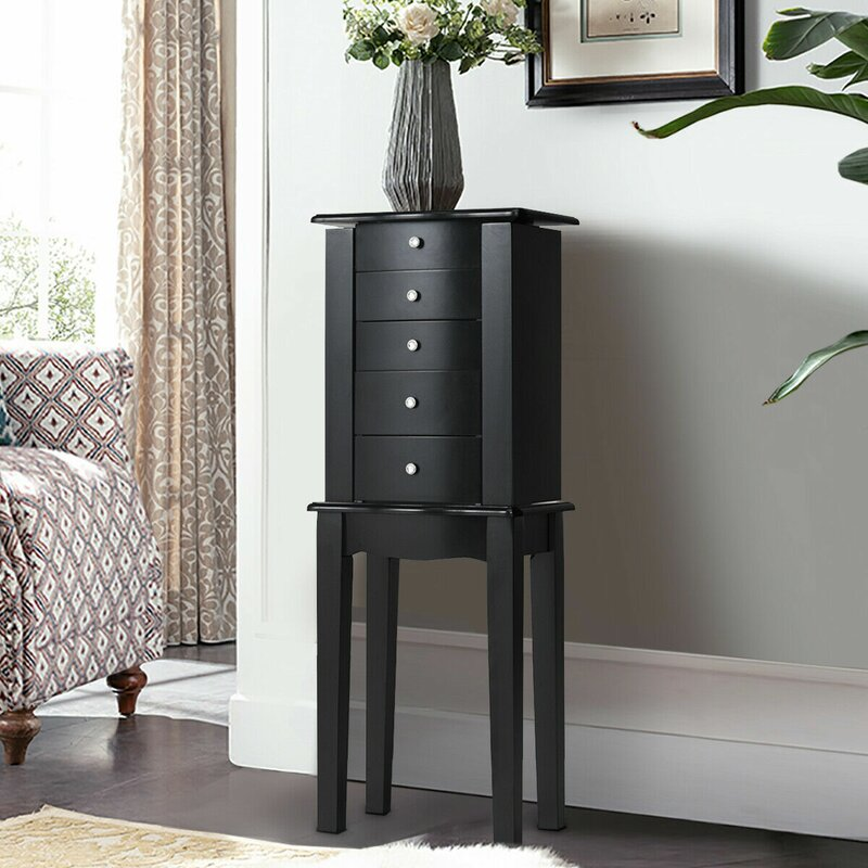Winston Porter Pacjo Free Standing Jewelry Armoire with ...