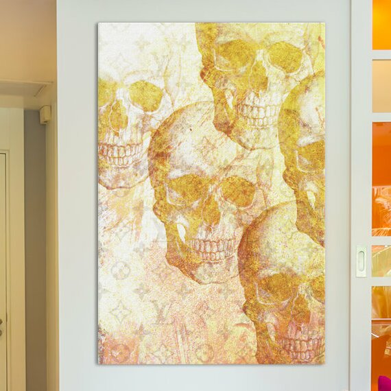 Flaming Skull moderne Photo Toile Wall Art Print Square Orange