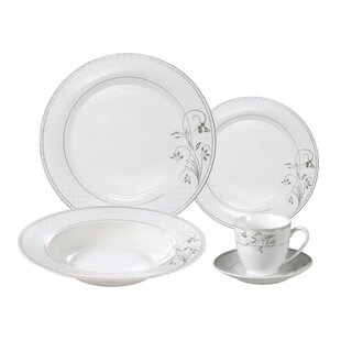 Rosalia Porcelain 24 Piece Dinnerware Set, Service for 4