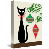 'Holiday Cat' Graphic Art Print on Canvas