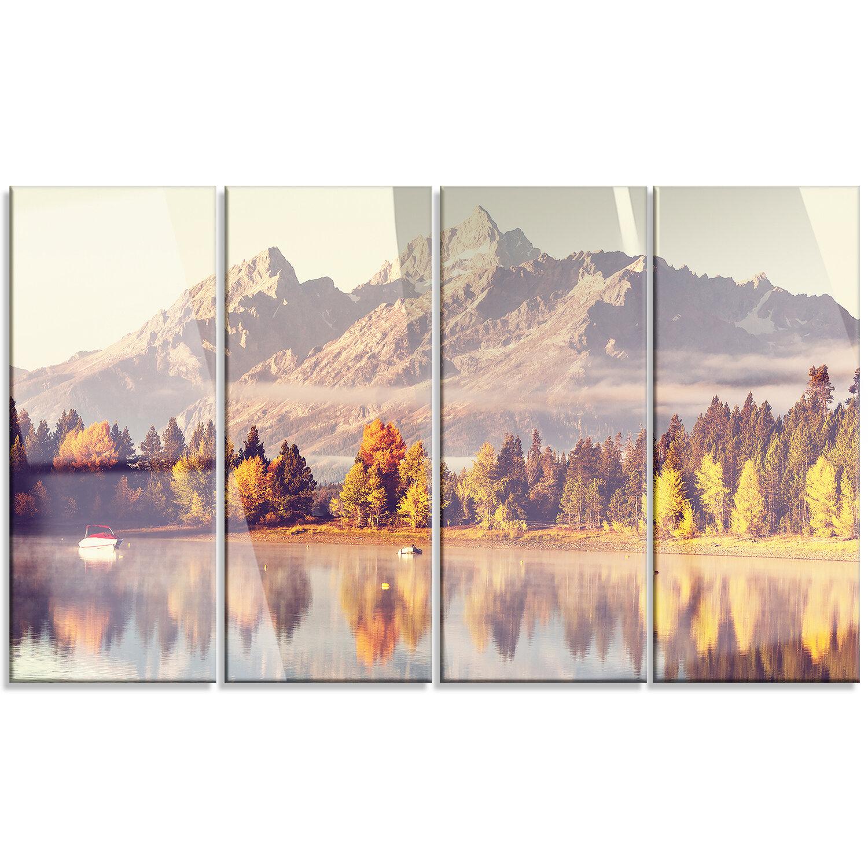 Designart Grand Teton National Park 4 Piece Photographic Print On Wrapped Canvas Set Wayfair