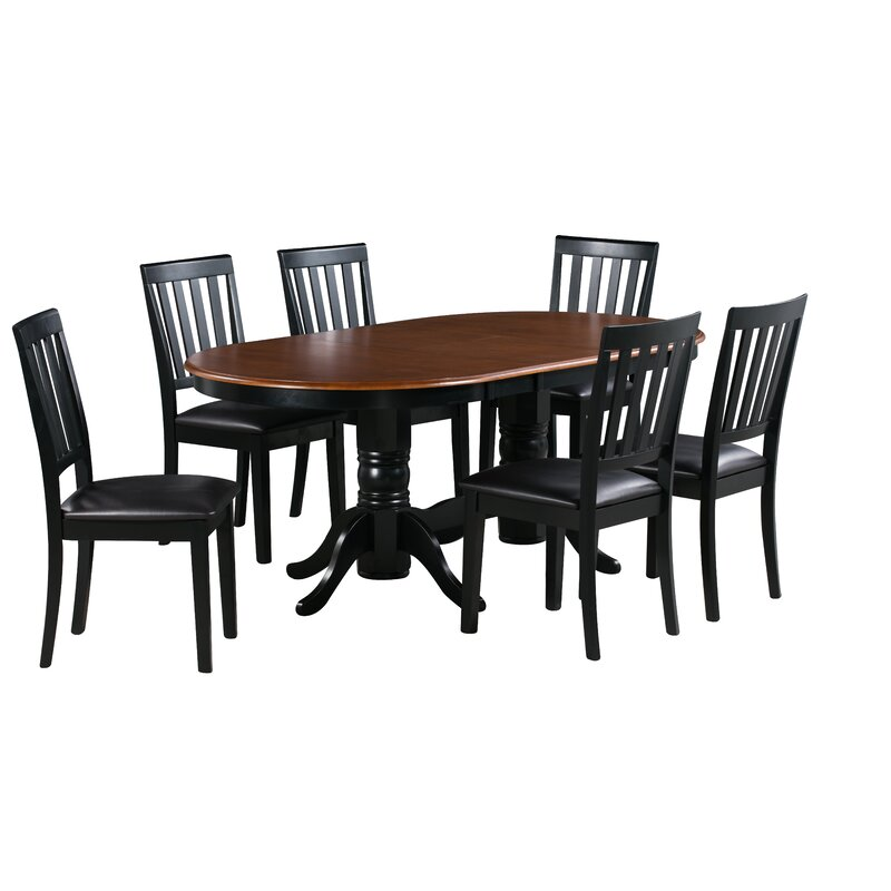 264b5771e096 Alcott Hill Jessie 7 Piece Extendable Solid Wood Dining Set
