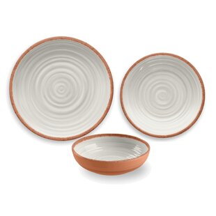 Rustic Swirl Melamine 12 Piece Dinnerware Set Service for 4  sc 1 st  Wayfair : casual dinnerware sets service for 12 - Pezcame.Com