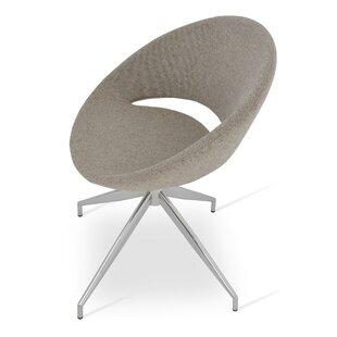 sohoConcept Crescent Spider Swivel Side Chair in Camira Wool - Beige