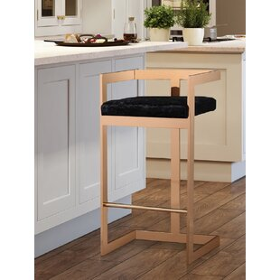Sallie Velvet 26 Bar Stool by Everly Quinn