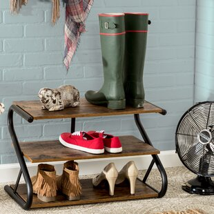 Rustic Z-Frame 3-Level 9 Pair Shoe Rack