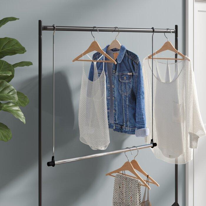 Lynk Double Hang Closet Rod Organizer Chrome//Wood Clothing Hanging Bar