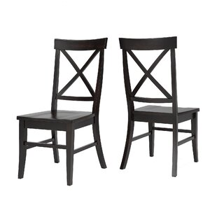 Fortville X-back Solid Wood Dining Chair (Set of 2) Three Posts