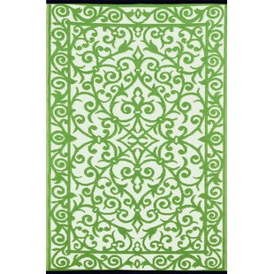 Lightweight Reversible Gala Herbal Garden/Ivory Indoor/Outdoor Area Rug