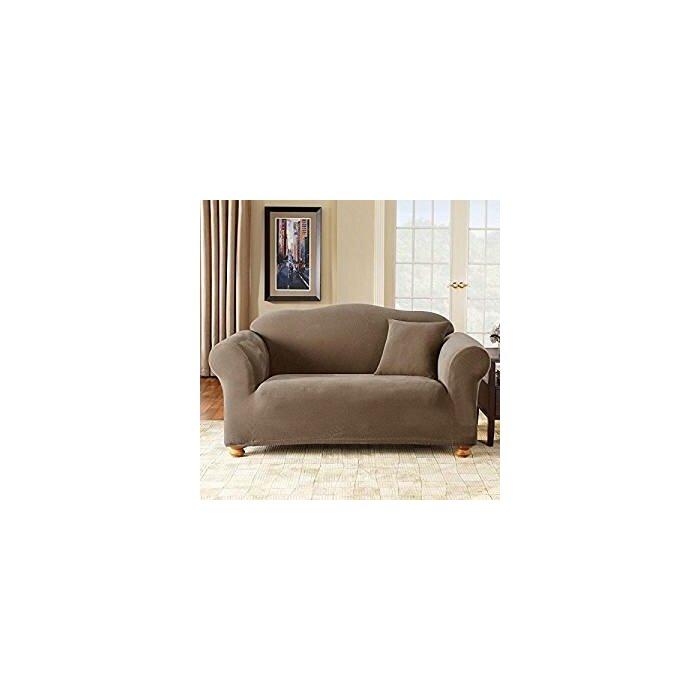 Peachy Stretch Pique Box Cushion Sofa Slipcover Beatyapartments Chair Design Images Beatyapartmentscom