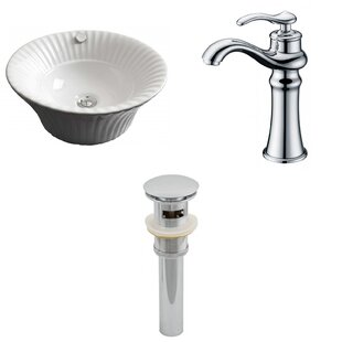 American Imaginations Specialty Ceramic Circular Vessel Bathroom Sink with Faucet and Overflow