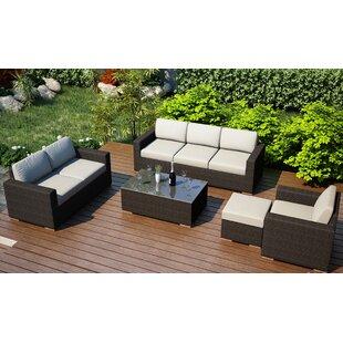 Harmonia Living Arden 5 Piece Teak Sofa Seating Group with Sunbrella Cushions