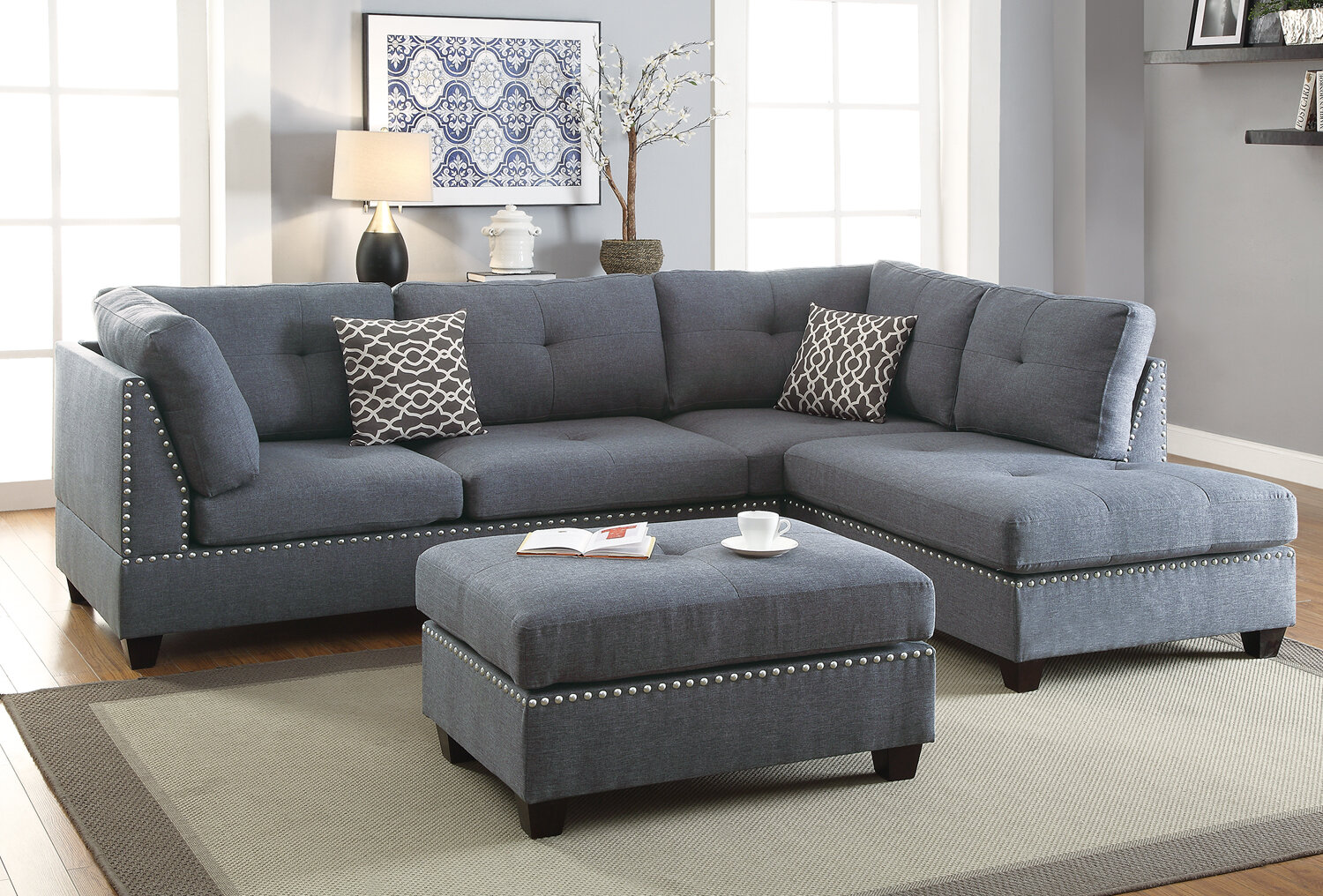 online store 79171 2fefb Milani Reversible Sectional with Ottoman