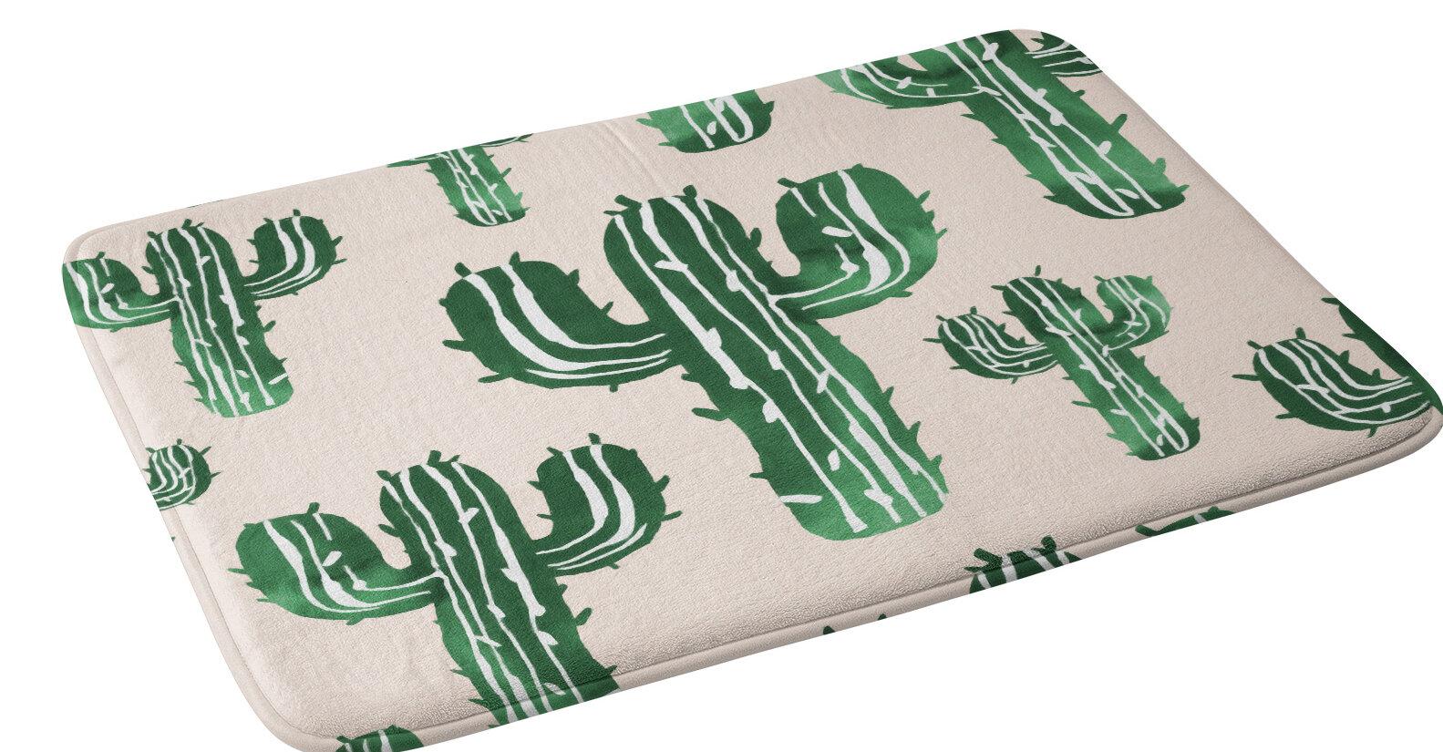 East Urban Home Susanne Kasielke Cactus Party Desert Matcha Floral Bath Rug Wayfair
