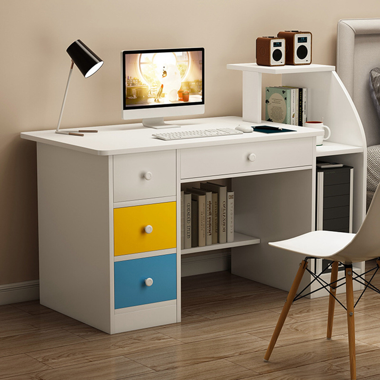 Ebern Designs Simpleness Laptop Computer Desk With Drawer Shelf Office Home Modern Small Desk