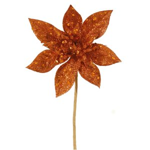 Glitter Poinsettia Flower Artificial Christmas Spray Pick