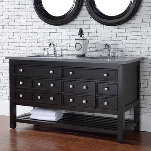 Kramer Traditional 60 Double Cerused Espresso Oak Bathroom Vanity Set by Darby Home Co