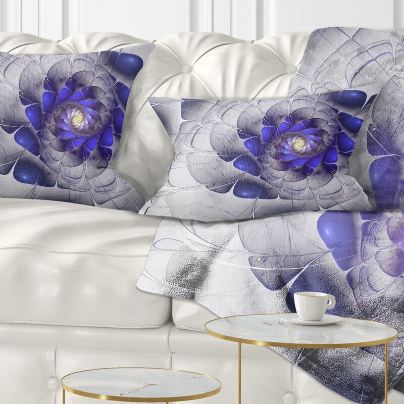 East Urban Home Floral Fractal Flower Digital Art Lumbar Pillow Wayfair
