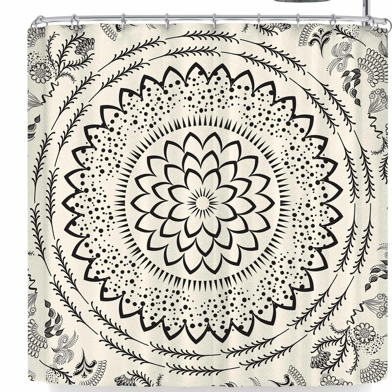 Famenxt Botanical Folk Vibes Mandala Shower Curtain